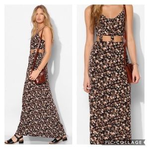 Urban Outfitters Floral Cutout Button Down Maxi
